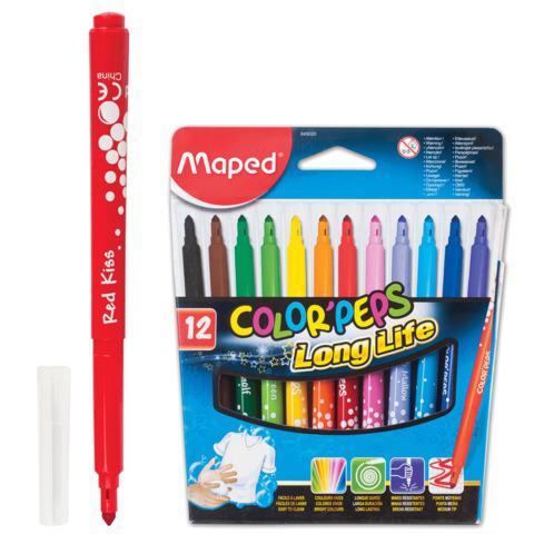 """Фломастеры MAPED (Франция) """"Color peps"""", 12 цв, смываемые, трехгранные, картонная упаковка, 845020  Код: 150622"""