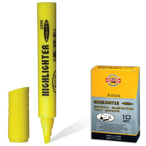 Текстмаркер KOH-I-NOOR, скошенный наконечник 1-5 мм, желтый, 7722060101KSRU  Код: 150665