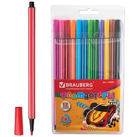 Фломастеры BRAUBERG (Брауберг) 12 цветов, шестигранные в полоску, вент.колп, пласт.упак., 150681  Код: 150681