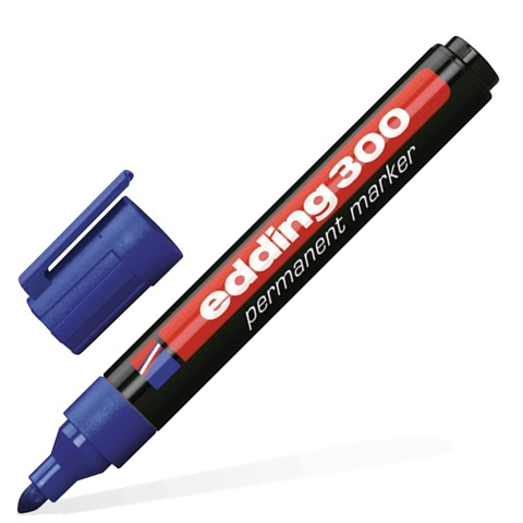 Маркер перманентный (нестираемый) EDDING 300, 1,5-3мм, круглый наконечник, синий, E-300/3  Код: 150702