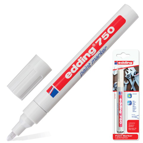 Маркер-краска лаковый EDDING 750, 2-4мм, круглый наконечник, алюминиевый корпус, белый, E-750/49  Код: 150710