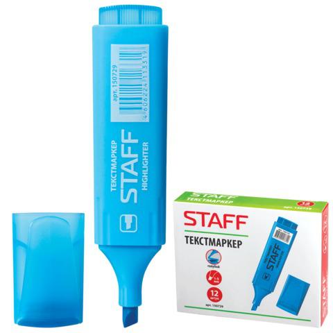 Текстмаркер STAFF скошенный наконечник 1-5 мм, голубой, 150729  Код: 150729