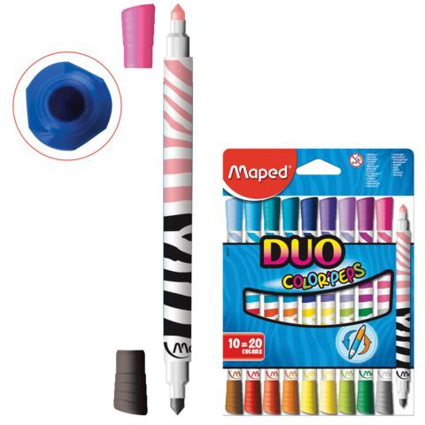 """Фломастеры двухсторонние MAPED (Франция) """"Color peps Duo"""", 10 шт., 20 цветов, 1мм, смываемые, 847010  Код: 150759"""