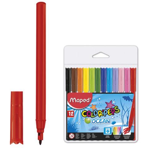 """Фломастеры MAPED (Франция) """"Color peps Ocean"""", 12 цв, смываемые, вентилир. колпачок, европодв,845720  Код: 150764"""