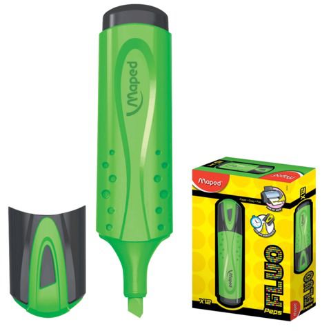 "Текстмаркер MAPED (Франция) ""Fluo Pep s Classic"", скошенный наконечник 1-5 мм, зеленый, 742533  Код: 150768"