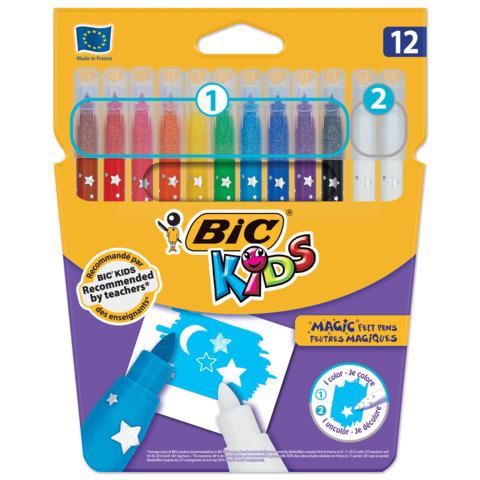 Фломастеры Пиши-стирай BIC 12 шт, 10 цв+2 стирающих, суперсмываемые, вентилируемый колпачок, 920296  Код: 150790