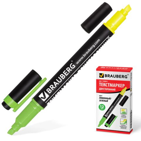 Текстмаркер BRAUBERG (Брауберг) двусторонний, скошенный наконечник 1-4 мм, лимонный/зеленый, 150841  Код: 150841