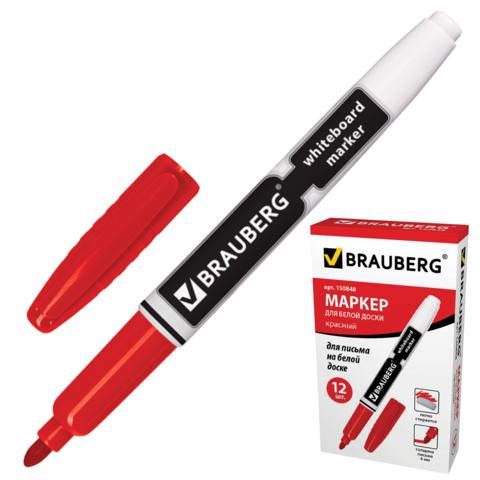 Маркер для доски BRAUBERG (Брауберг) с клипом, эргономичный корпус, круглый наконечник 4 мм, красный, 150848  Код: 150848