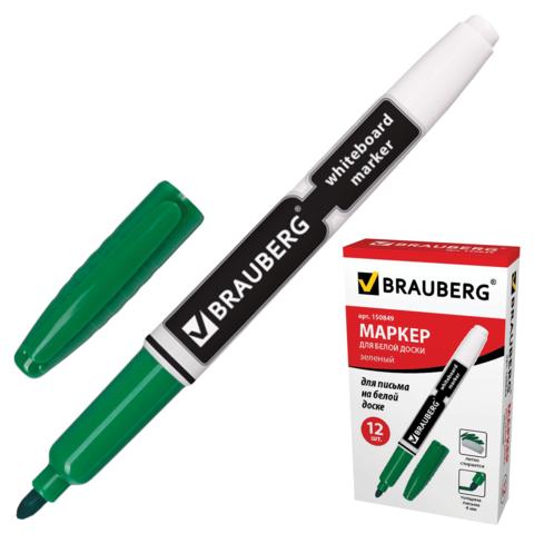 Маркер для доски BRAUBERG (Брауберг) с клипом, эргономичный корпус, круглый наконечник 4 мм, зеленый, 150849  Код: 150849