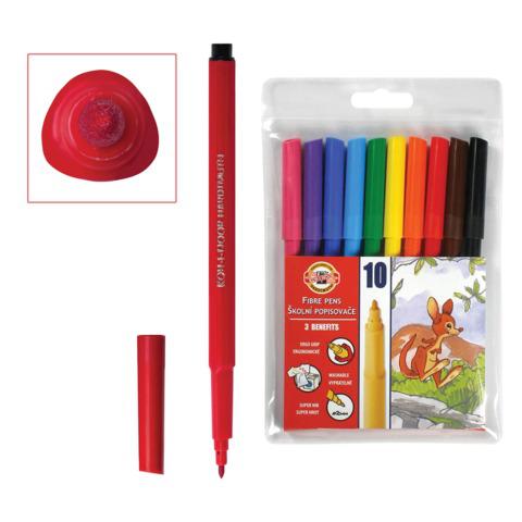 Фломастеры KOH-I-NOOR 10 цв, смываемые, трехгранные, пластиковая упаковка, европодвес,771002AJ04TERU  Код: 150851