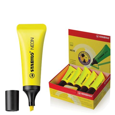 """Текстмаркер STABILO """"Neon"""", скошенный наконечник 2-5 мм, желтый, 72/24  Код: 150911"""