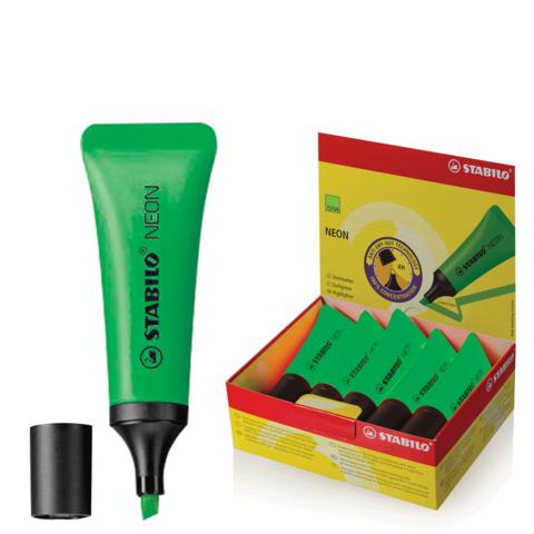 "Текстмаркер STABILO ""Neon"", скошенный наконечник 2-5 мм, зеленый, 72/33  Код: 150912"