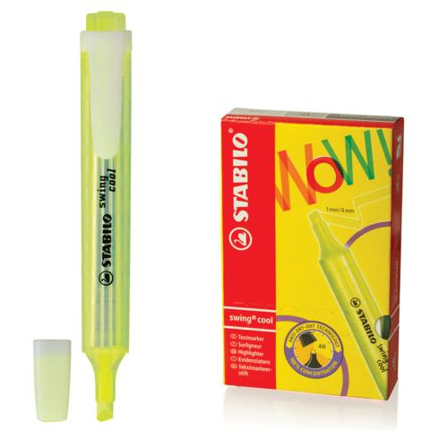 """Текстмаркер STABILO """"Swing cool"""", скошенный наконечник 1-4 мм, карманный клип, желтый, 275/24  Код: 150915"""