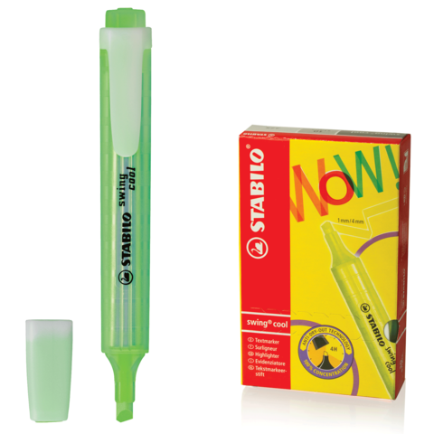 "Текстмаркер STABILO ""Swing cool"", скошенный наконечник 1-4 мм, карманный клип, зеленый, 275/33  Код: 150917"