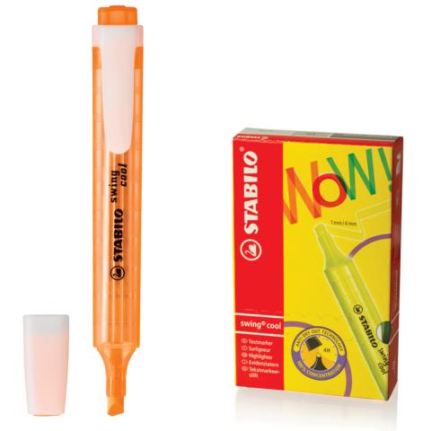 "Текстмаркер STABILO ""Swing cool"", скошенный наконечник 1-4 мм, карманный клип, оранжевый, 275/54  Код: 150918"