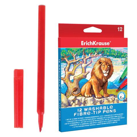 Фломастеры ERICH KRAUSE 12 цв, суперсмываемые, вентилир. колпачок, картон.упаковка с подвесом, 38564  Код: 150945