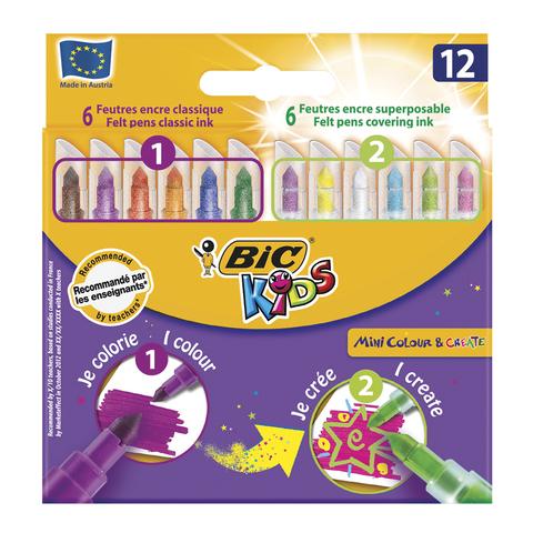 """Фломастеры BIC """"Рисуй и Твори"""", 12 шт., 6 цв+6 цв для особых эффектов, укороченные, карт.упак,892221  Код: 150955"""
