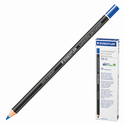 Маркер-карандаш сухой перманентный для любой поверхности, СИНИЙ, 4,5мм, STAEDTLER, 108 20-3  Код: 151063