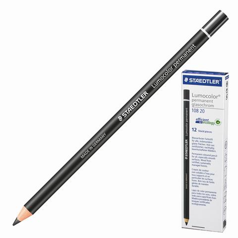 Маркер-карандаш сухой перманентный для любой поверхности, ЧЕРНЫЙ, 4,5мм, STAEDTLER, 108 20-9  Код: 151065