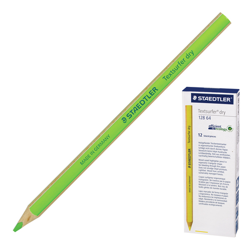 Текстмаркер-карандаш сухой, НЕОН ЗЕЛЕНЫЙ STAEDTLER (Германия), грифель 4 мм, трехгранный, 128 64-5  Код: 151068