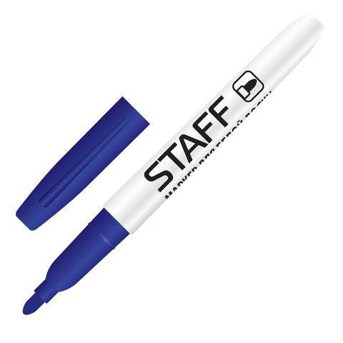 Маркер для доски STAFF, тонкий корпус, круглый наконечник 2,5 мм, синий, 151094  Код: 151094
