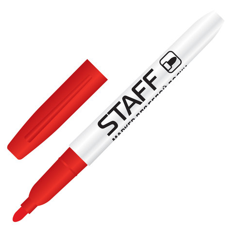 Маркер для доски STAFF, тонкий корпус, круглый наконечник 2,5 мм, красный, 151095  Код: 151095