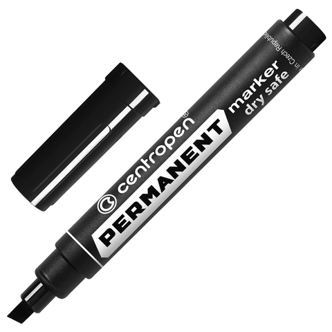 Маркер перманентный (нестираемый) CENTROPEN, скошенный наконечник, 1-4,6мм, черный, 8576/Ч  Код: 151098