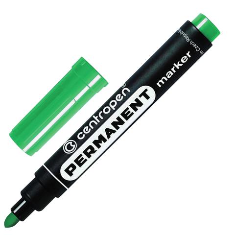 Маркер перманентный (нестираемый) CENTROPEN, круглый наконечник, 2,5мм, зеленый, 8566/З  Код: 151106