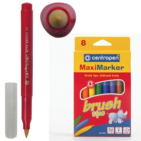 """Фломастеры CENTROPEN """"Brush"""",  8 цв, наконечник-кисть, вентилируемый колпачок, европодвес, 8773/08  Код: 151165"""