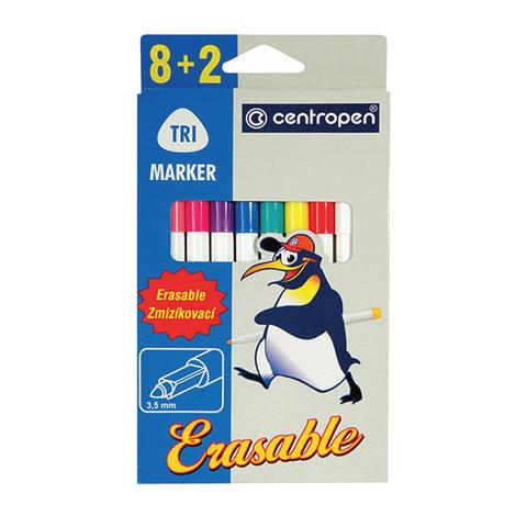 """Фломастеры CENTROPEN """"Erasable"""", 8 цв+2 стирающих, ширина линии 1,8мм, стираемые, 2569/10  Код: 151171"""