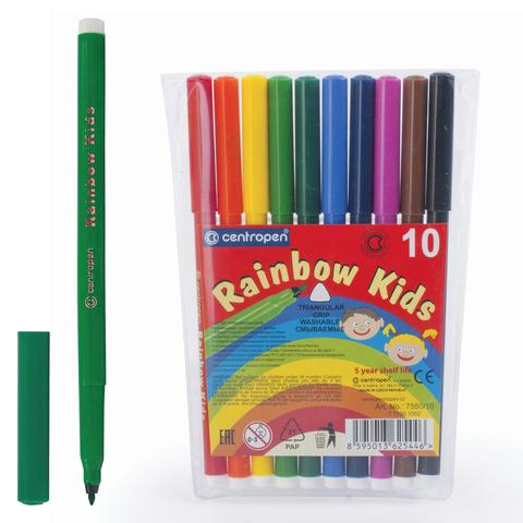 """Фломастеры CENTROPEN """"Rainbow Kids"""", 10 цв, смываемые, эргономичные, вентилируемый колпачок, 7550/10  Код: 151179"""