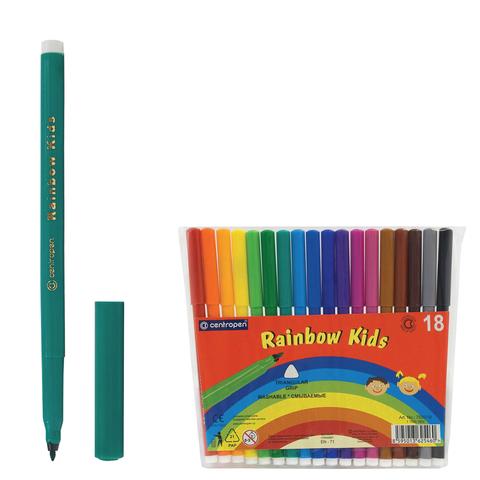 """Фломастеры CENTROPEN """"Rainbow Kids"""", 18 цв, смываемые, эргономичные, вентилируемый колпачок, 7550/18  Код: 151181"""