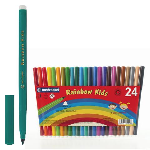 """Фломастеры CENTROPEN """"Rainbow Kids"""", 24 цв, смываемые, эргономичные, вентилируемый колпачок, 7550/24  Код: 151182"""