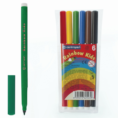 """Фломастеры CENTROPEN """"Rainbow Kids"""",  6 цв, смываемые, эргономичные, вентилируемый колпачок, 7550/06  Код: 151183"""