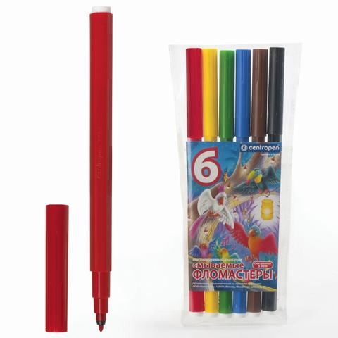 """Фломастеры CENTROPEN """"ПТИЦЫ"""", 6 цветов, смываемые, вент. колпачок, полибег, 7790/06-87  Код: 151193"""