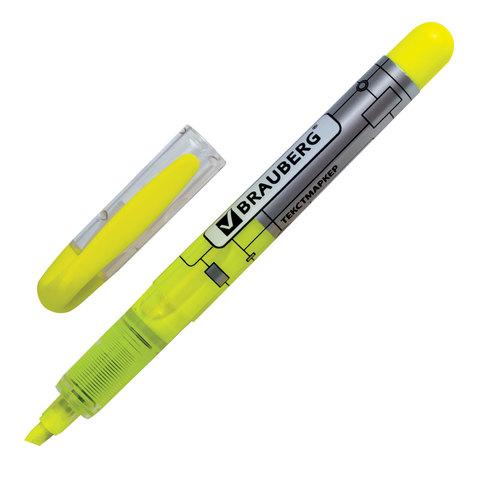 """Текстмаркер BRAUBERG (Брауберг) """"Fluo Color"""", ЖИДКИЕ ЧЕРНИЛА, круглый корп, скош. нак. 1-3 мм, лимонный,151201  Код: 151201"""
