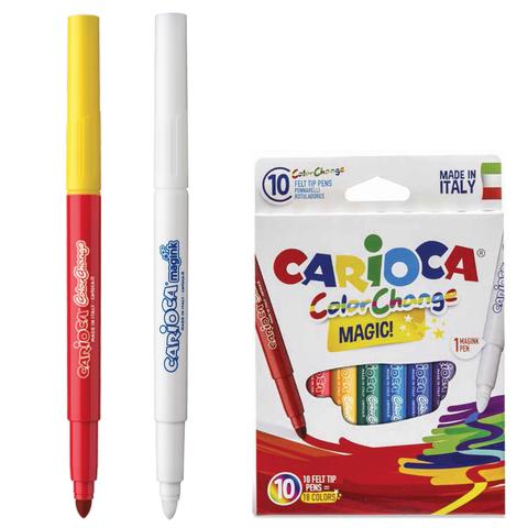 """Фломастеры CARIOCA """"Color Change"""", 10 шт., 9цв+1 изменяющий цвет, утолщ.наконечник, смываемые, 42737  Код: 151214"""