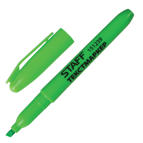 Текстмаркер STAFF, эргономичный корпус, скошенный наконечник 1-3мм, зёлёный, 151239  Код: 151239