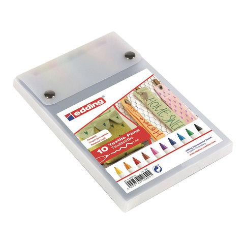 Маркеры для ткани EDDING 4600, НАБОР 10шт., тонкий наконечник 1мм, цвета ассорти, E-4600/10S  Код: 151275