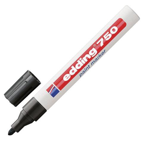Маркер-краска лаковый EDDING 750, 2-4 мм, круглый наконечник, алюминиевый корпус, черный, E-750/1  Код: 151309