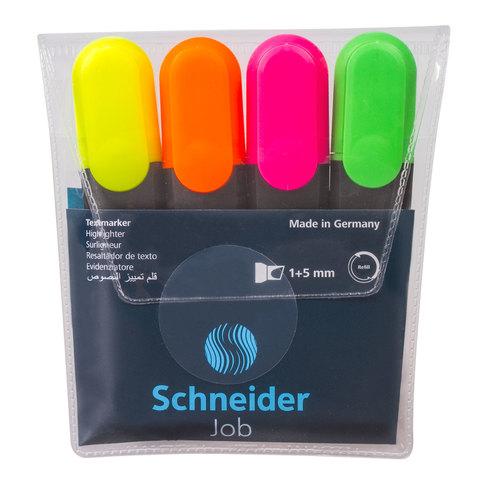 Текстмаркеры SCHNEIDER, НАБОР 4 шт., Job, скошенный наконечник 1-5 мм, (желт,зел,оранж,роз), 1500  Код: 151349
