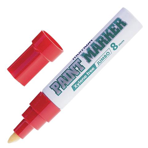 """Маркер-краска лаковый MUNHWA """"Jumbo"""", 8мм, нитро-основа, алюминиевый корпус, КРАСНЫЙ, JPM-03  Код: 151459"""