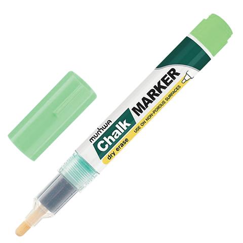 """Маркер меловой MUNHWA """"Chalk Marker"""", сухостираемый, 3мм, на спиртовой основе, ЗЕЛЕНЫЙ, CM-04  Код: 151484"""