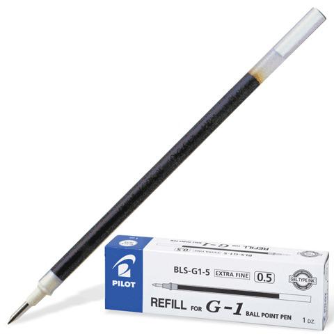 Стержень гелевый PILOT 128мм, евронаконечник, узел 0,5мм, линия 0,3мм, черный, BLS-G1-5  Код: 170071