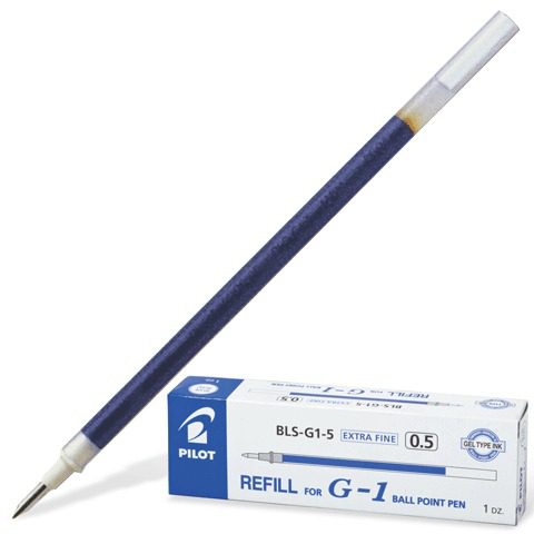 Стержень гелевый PILOT 128мм, евронаконечник, узел 0,5мм, линия 0,3мм, синий, BLS-G1-5  Код: 170072