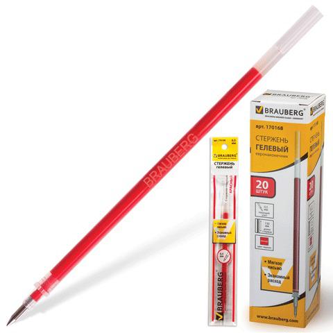 Стержень гелевый BRAUBERG (Брауберг) 130мм, евронаконечник, узел 0,5мм, линия 0,35мм, красный, 170168  Код: 170168