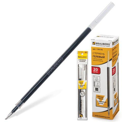 Стержень гелевый BRAUBERG (Брауберг) 130мм, игольчатый пишущий узел 0,5мм, линия 0,35мм, черный, 170170  Код: 170170