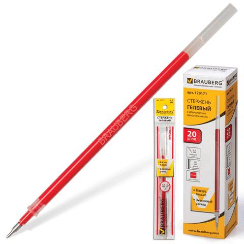 Стержень гелевый BRAUBERG (Брауберг) 130мм, игольчатый пишущий узел 0,5мм, линия 0,35мм, красный, 170171  Код: 170171
