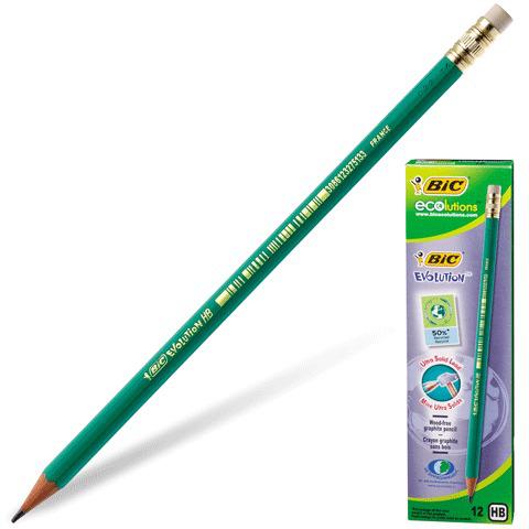 """Карандаш ч/гр BIC, 1 шт., """"Evolution"""", HB, пластиковый, с резинкой, корпус зеленый, заточенный, 655  Код: 180094"""