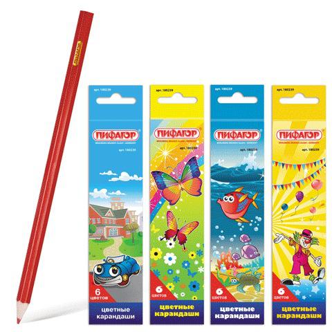 """Карандаши цветные ПИФАГОР """"Сказочный мир"""", 6 цветов, заточенные, картонная упаковка, дизайн ассорти, 180239  Код: 180239"""